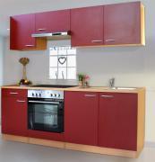 respekta Economy Küchenblock 210 cm Buche Nachbildung mit Glaskeramikkochfeld rot