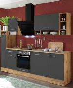 respekta Economy Küchenblock 250 cm Wildeiche Nachbildung grau