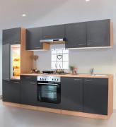 respekta Economy Küchenblock 270 cm Buche Nachbildung mit Edelstahlkochfeld grau