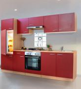 respekta Economy Küchenblock 270 cm Buche Nachbildung mit Edelstahlkochfeld rot