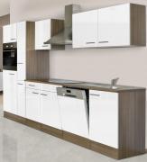 respekta Economy Küchenblock 310 cm Eiche York Nachbildung weiß