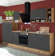 respekta Economy Küchenblock 310 cm Wildeiche Nachbildung grau