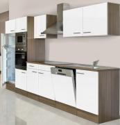 respekta Economy Küchenblock 340 cm Eiche York Nachbildung mit Glaskeramikkochfeld weiß