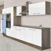 respekta Economy Küchenblock 360 cm Eiche York Nachbildung mit Glaskeramikkochfeld weiß