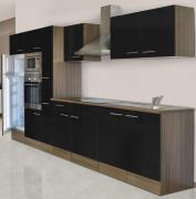 respekta Economy Küchenblock 360 cm Eiche York Nachbildung mit Glaskeramikkochfeld schwarz