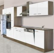 respekta Economy Küchenblock 370 cm Eiche York Nachbildung mit Glaskeramikkochfeld weiß