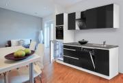 respekta Premium Grifflos-Küchenblock 280 cm Weiß & Granit-Optik Schwarz Hochglanz