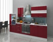 respekta Premium Küchenblock 270 cm bordeaux Hochglanz mit Herd-Set