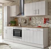 respekta Premium Küchenblock Landhaus 250 cm Wildeiche Nachbildung Lärche weiß