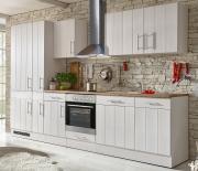 respekta Premium Küchenblock Landhaus 310 cm Wildeiche Nachbildung mit Kühlschrank Lärche weiß