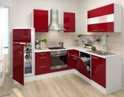 respekta Premium L-Küchenblock 260 cm bordeaux Hochglanz mit extra Oberschrank 110 cm