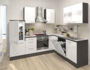 respekta Premium L-Küchenblock 260 cm Eiche grau Nachbildung mit extra Oberschrank Weiß Hochglanz