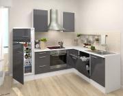 respekta Premium L-Küchenblock 260 cm grau Hochglanz mit Herd-Set
