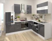 respekta Premium L-Küchenblock 260 cm grau Hochglanz mit extra Oberschrank 110 cm