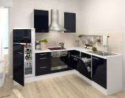 respekta Premium L-Küchenblock 260 cm schwarz Hochglanz mit Herd-Set