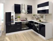 respekta Premium L-Küchenblock 260 cm schwarz Hochglanz mit extra Oberschrank 110 cm