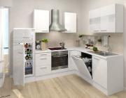 respekta Premium L-Küchenblock 260 cm weiß Hochglanz mit extra Oberschrank 110 cm