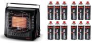 Rowi Gas-Heizstrahler HGS 2000/2 T 2000 Watt Heizung tragbar + 12x Gaskartusche je 220g