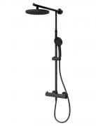 Schulte DuschMaster Rain I Classic mit Thermostat Kopfbrause schwarz rund Duschsystem