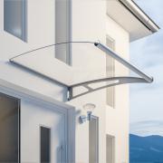 Schulte Vordach LT-Line Modulares Pultbogenvordach Erweiterungsmodul XL Acrylglas klar Edelstahl matt gebürstet