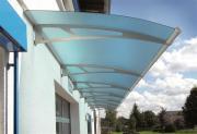 Schulte Vordach LT-Line Modulares Pultbogenvordach Basismodul XL Premium Acrylglas satiniert Edelstahl matt gebürstet V4A