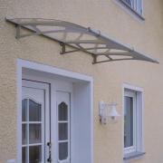 Schulte Vordach LT-Line Pultbogenvordach 1900Premium Acrylglas satiniert Edelstahl matt gebürstet V4A