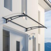 Schulte Vordach LT-Line Pultbogenvordach 1500 Acrylglas klar Stahlwandhalterung anthrazit
