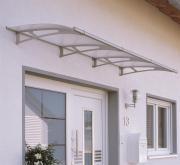 Schulte Vordach LT-Line Pultbogenvordach 2700Premium Acrylglas klar Edelstahl matt gebürstet V4A