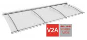 Schulte Vordach LT-Line Pultbogenvordach Sondermaß bis 2700 Acrylglas klar V2A Edelstahl matt gebürstet