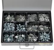 Sortiment Blechschrauben mit Scheibe & Blechmuttern Schrauben: 4,8x16 - 8,0x19 mm Blechmuttern: 3,5-6,5 mm 470 Teile