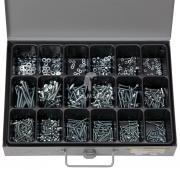 Sortiment Gewindeschrauben / Muttern / Scheiben DIN 7985+934+125 VZ, M3 - M5, 3 x 10 - 5 x 50 mm 750 Teile