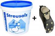 Streusalz 10 Kg im praktischem Eimer + Schuhspikes/ Eiskrallen Größe M 37-40 Set