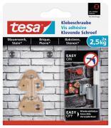 tesa Dreieckige Klebeschraube für Mauerwerk und Stein 2,5 kg Traglast 2 Stück