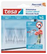 tesa Klebehaken für transparente Oberflächen und Glas (1kg) Packung mit 2 Stück