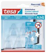 tesa Klebehaken für transparente Oberflächen und Glas (1kg) Packung mit 5 Haken