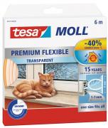 tesa Moll flexibles Silikonprofil Premium-Dichtung Fenster+Türen transparent 6m x 9mm x 7mm