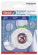 tesa Montageband Doppelseitiges Klebeband für Fliesen und Metall feuchtraumbeständig 1,5 m x 19 mm