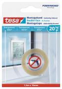 tesa Montageband Doppelseitiges Klebeband für transparente Oberflächen und Glas Belastung bis 20kg/m 1,5 m x 19 mm
