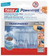 tesa Powerstrips Deco-Haken transparent für maximal 1kg Belastung 2 Stück