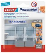 tesa Powerstrips Haken transparentmatt chrom für maximal 1kg Belastung 2 Stück