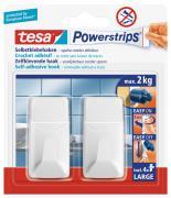 tesa Powerstrips Haken Wandhaken L Eckig Weiß für maximal 2 kg Belastung 2 Stück