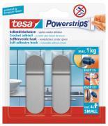 tesa Powerstrips Haken Wandhaken S Metall für maximal 1 kg Belastung 2 Stück