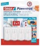 tesa Powerstrips selbstklebende Gardinenhaken bis 1kg wieder ablösbar weiß 4 Stück