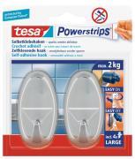 tesa Powerstrips selbstklebende Haken Belastung bis 2 kg wieder ablösbar oval chrom 2 Stück