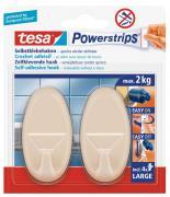 tesa Powerstrips selbstklebende Haken Belastung bis 2kg wieder ablösbar oval beige 2 Stück