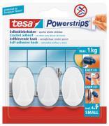 tesa Powerstrips selbstklebende Haken bis 1kg wieder ablösbar oval weiss 3 Stück