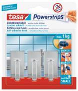 tesa Powerstrips selbstklebende Haken bis 1kg wieder ablösbar eckig chrom 3 Stück