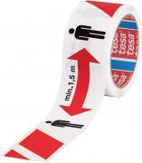 tesa Signalband rot/weiß Abstand halten 1,5m, 50m:50mm
