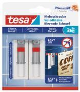 tesa Verstellbare Klebeschraube für Fliesen und Metall Belastung bis 3kg 2 Stück
