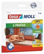 tesamoll CLASSIC Gummidichtung für Fenster und Türen E-Profil 6m x 9mm x 4mm braun
